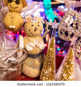 Portland, Oregon \ USA - December 15 2018: Close up view at a Christmas decoration is a form of a brown snow woman in wrap skirt, bra made of shells and a flower wreath (Lei) on a head