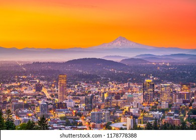 Portland, Oregon, USA downtown skyline with Mt. Hood at dawn.
