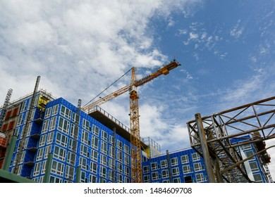 Portland, Oregon/ USA - July 12, 2019: the new blue building is under the construction in the city.