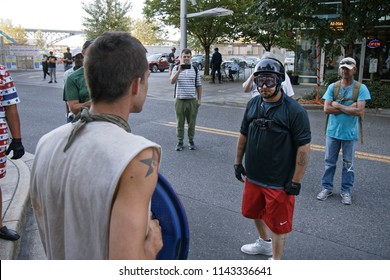 Portland, Oregon / USA - July 20, 2018: protesters and counter protesters face off near Occupy ICE camp