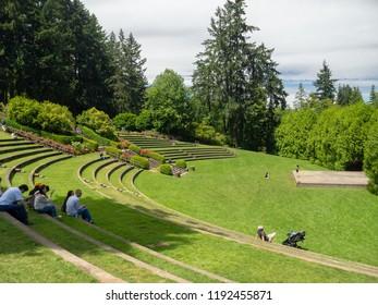 Portland, Oregon, USA - July 2018: International Rose Test Garden in Portland