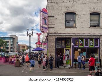 Portland, Oregon, USA - July 2018: Famous Voodoo Doughnut Shop