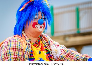 Portland, Oregon, USA - June 10, 2017: Rose Festival Clowns in the Grand Floral Parade, during Portland Rose Festival 2017.