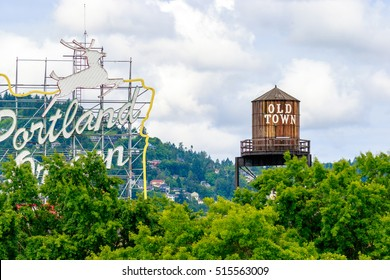 Portland, Oregon, USA - JUNE 11, 2016: The White Stag sign, a former advertising sign, greets those traveling into Old Town on the Burnside Bridge.