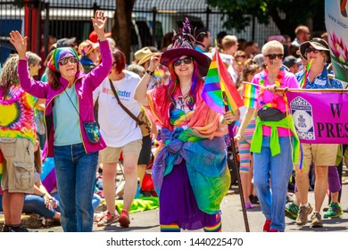Portland, Oregon, USA - June 16, 2019: Diversified group of people in Portland's 2019 Pride Parade.