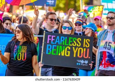 Portland, Oregon, USA - June 17, 2018: Portland's 2018 Pride Parade reflects the community diversity.