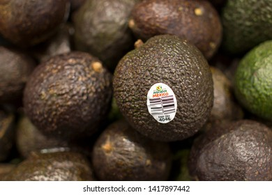Portland, Oregon, USA - June 6, 2019: Avocados from Mexico in a grocery store in downtown Portland.