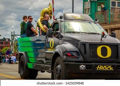 Portland, Oregon, USA - June 8, 2019: University of Oregon Duck Truck in the Grand Floral Parade, during Portland Rose Festival 2019.