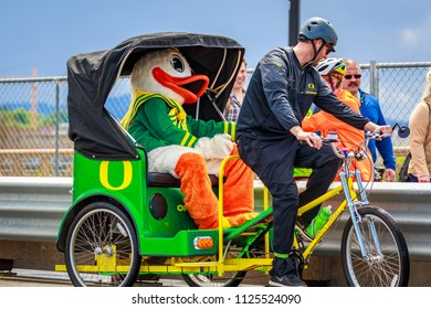 Portland, Oregon, USA - June 9, 2018: University of Oregon Duck Truck, Pep Band, Cheerleaders and Duck in the Grand Floral Parade, during Portland Rose Festival 2018.