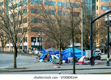 Portland, Oregon USA - March 6, 2021: Depicting unprecedented amount of homeless people on the streets of Portland, Oregon.