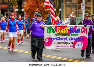 Portland, Oregon, USA - November 11, 2017: The Beat Goes On Marching Band in the annual Ross Hollywood Chapel Veterans Day Parade, in northeast Portland.
