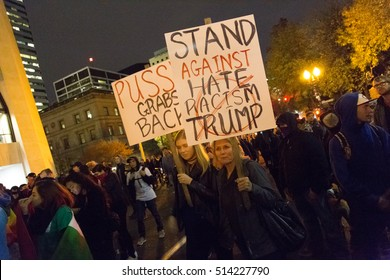 Portland, Oregon, USA  - November 11, 2016: An anti-Trump rally - a fourth night of demonstrations. People protesting Donald Trump's victory in the 2016 presidential election.