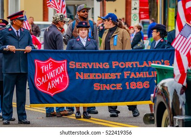 Portland, Oregon, USA - November 11, 2016: The annual Ross Hollywood Chapel Veterans Day Parade, in northeast Portland.