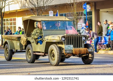 Portland, Oregon, USA - November 12, 2018: The annual Ross Hollywood Chapel Veterans Day Parade, in northeast Portland.