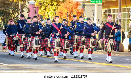 Portland, Oregon, USA - November 12, 2018: Portland Police Highland Guard Pipe Band in the annual Ross Hollywood Chapel Veterans Day Parade, in northeast Portland.