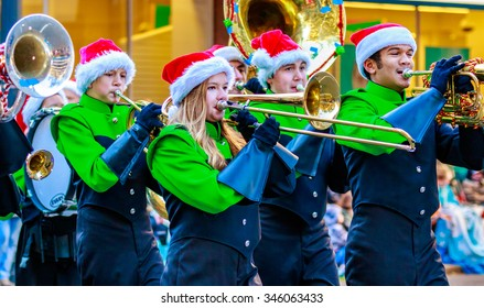 Portland, Oregon, USA - November 27, 2015: Tigard High School Marching Band in the annual My Macy's holiday Parade across Portland Downtown.