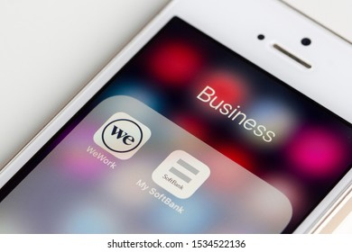 Portland, Oregon, USA - Oct 17, 2019: WeWork and SoftBank mobile apps are seen on a smartphone.
