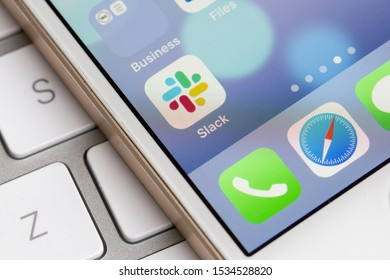 Portland, Oregon, USA - Oct 17, 2019: Slack mobile app icon is seen on a smartphone.