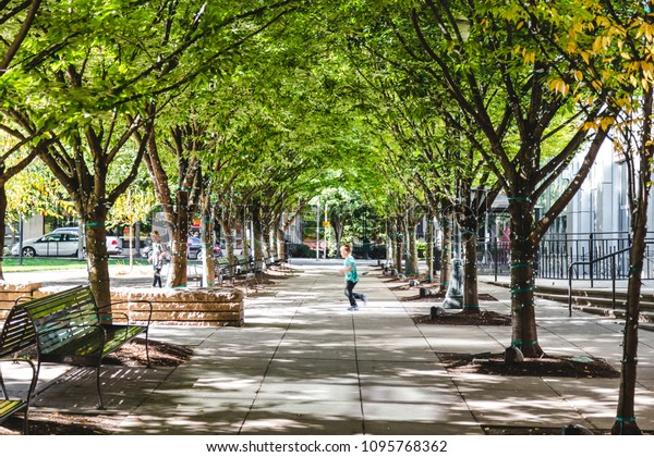 Portland, Oregon / USA - October 2017: Jamison Square is a public space in the Pearl district, downtown Portland.
