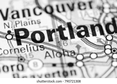 Portland. Oregon. USA on a map.