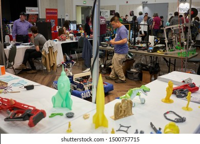 Portland, Oregon, USA - Sep 8, 2019: 3D printing enthusiasts gathering at the Portland Mini Maker Faire held in the Oregon Museum of Science and Industry (OMSI).