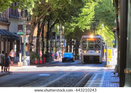 Portland, Oregon, USA - September 20, 2014:  Public transportation, TriMet Max Train, in downtown Portland, Oregon