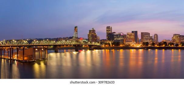 Portland Oregon Waterfront City Skyline with Hawthorne Bridge over Willamette River at Twilight Panorama