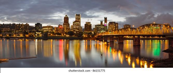 Portland Oregon Waterfront Downtown Skyline at Sunset Panorama