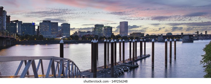 Portland Oregon Waterfront Skyline by the Boat Dock Along Willamette River at Sunset Panorama