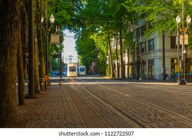 Portland, Oregon/USA - June 17, 2018 Tri Met Public Transportation Electric Train Transport People Around the City
