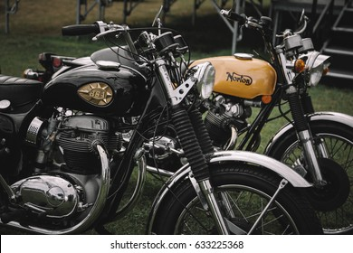 PORTLAND, OR - SEPTEMBER 4: Vintage motorcycles, a BSA Lightning and Norton Commando, are shown at the All British Field Meet on September 4, 2016 at Portland International Raceway in Oregon.