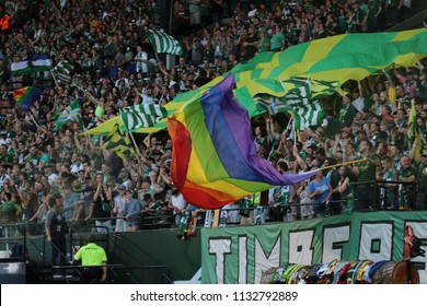The Portland Timbers Army at Providence Park in Portland Oregon USA July 7,2018.