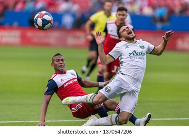 Portland Timbers midfielder Andres Flores (14) during a MLS match between the Portland Timbers and FC Dallas April 13, 2019, at Toyota Stadium, Frisco, Texas. FC Dallas defeated Portland 2-1.
