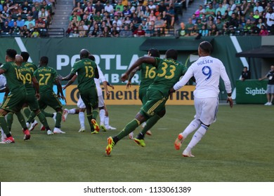 The Portland Timbers vs the San Jose Earthquakes at Providence Park in Portland Oregon USA July 6,2018.