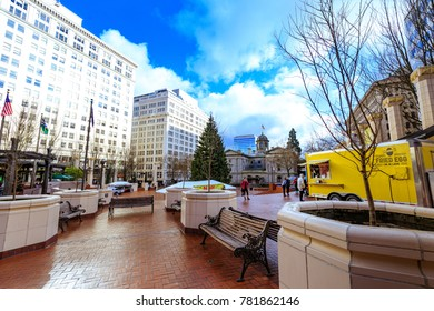 Portland, United States - Dec 21, 2017 : View of Pioneer Courthouse Square in downtown