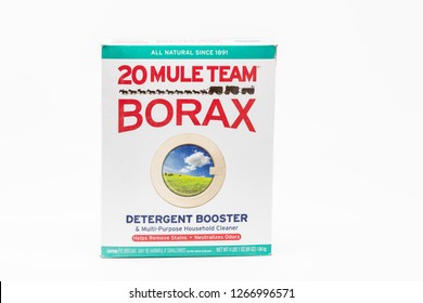 Portland, OR / USA - December 23 2018: Box of Borax brand detergent booster, isolated on white background.