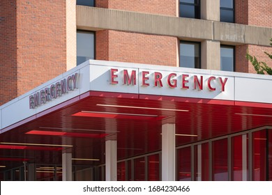 Portland, OR / USA - February 21 2020: Hospital's Emergency entrance with a red and white banner.