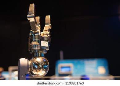Portland, OR / USA - July 14 2018: Mechanical hand performing gestures at the exhibition event in OMSI museum.