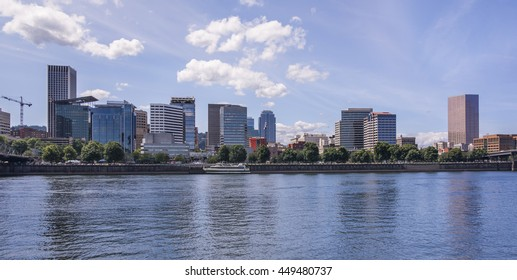 Portland, OR USA - July, 6th 2016. Beautiful view on Downtown Portland opens from the Eastbank Esplanade.