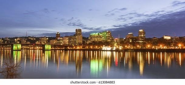 Portland, OR USA - March 31st, 2017. Portland skyline as seen from Eastbank Esplanade.