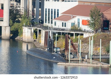 Portland, OR / USA - November 15 2018: USS Blueback (SS-581) decommissioned Barbel-class submarine docked at the OMSI waterfront dock.