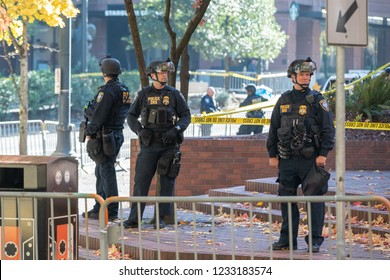 Portland, OR / USA - November 17 2018: Multiple department of homeland security (DHS) police officers at the downtown political rally.