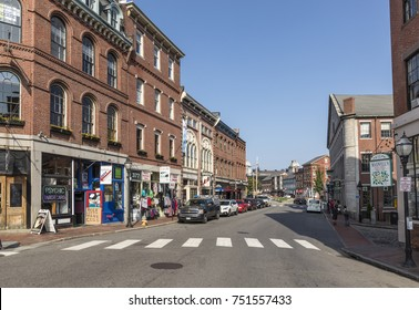 PORTLAND, USA - SEP 15, 2017: Portland Old Port is filled with 19th century brick buildings and is now the commercial center of the city in Portland, Maine, USA.