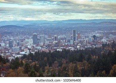 PORTLAND, USA - SEPTEMBER 1 2017: View of the city surrounded by forest from a mountain peak