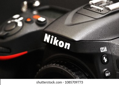 Port-Louis, Mauritius - April 12, 2018: Nikon Camera Logo closeup. Nikon is a Japanese multinational corporation specializing in optics and imaging products.