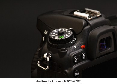 Port-Louis, Mauritius - April 12, 2018: Nikon D7100 digital single lens reflex camera, closeup. Nikon is a Japanese multinational corporation specializing in optics and imaging products.