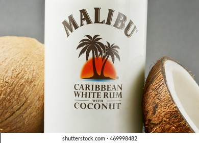 Port-Louis, Mauritius - August 13, 2016. Closeup of Bottle of Malibu Rum, flavored rum based liqueur made with natural coconut. Malibu is a brand owned by Pernod Ricard.