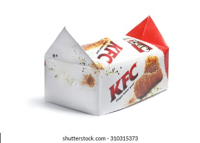 PORT-LOUIS, MAURITIUS - August ?20, 2015: Kentucky Fried Chicken Box on white, KFC is the worlds second largest restaurant chain