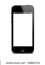 Port-Louis, Mauritius - March 01, 2015. Black Iphone 5 with white blank screen. Isolated on white