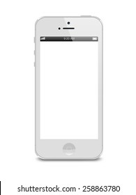 Port-Louis, Mauritius - March 01, 2015. White Iphone 5 with white blank screen. Isolated on white